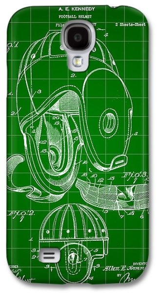Pro Football Galaxy S4 Cases - Football Helmet Patent 1927 - Green Galaxy S4 Case by Stephen Younts