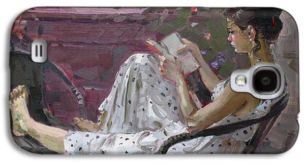 Balcony Galaxy S4 Cases - Girl Reading Galaxy S4 Case by Ylli Haruni