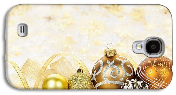 Pine Cones Photographs Galaxy S4 Cases - Golden Christmas ornaments  Galaxy S4 Case by Elena Elisseeva