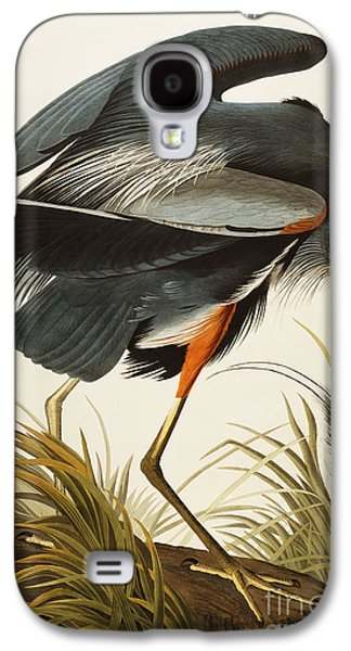 Heron Paintings Galaxy S4 Cases - Great Blue Heron Galaxy S4 Case by John James Audubon