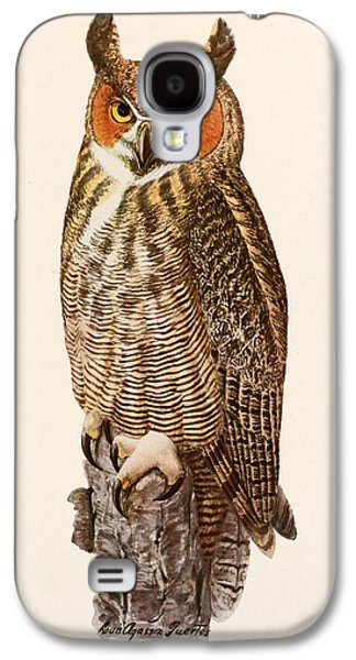 Great Birds Galaxy S4 Cases - Great Horned Owl Galaxy S4 Case by Louis Agassiz Fuertes