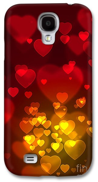 Blurred Galaxy S4 Cases - Hearts Background Galaxy S4 Case by Carlos Caetano