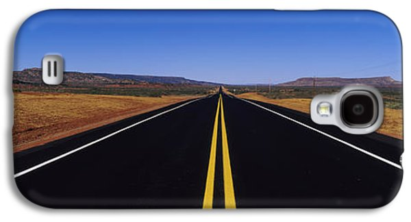 Yellow Line Galaxy S4 Cases - Highway Passing Through A Landscape Galaxy S4 Case by Panoramic Images