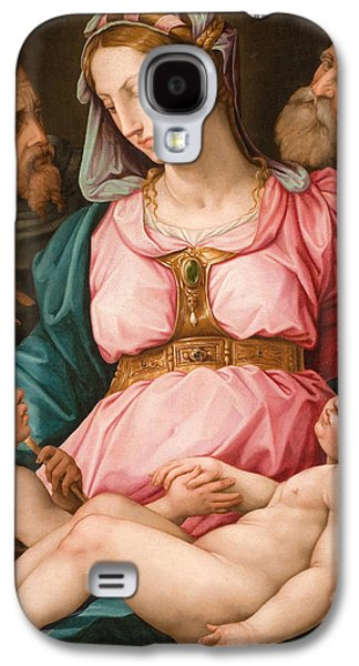 Christian work Paintings Galaxy S4 Cases - Holy Family with the Infant Saint John the Baptist and Saint Francis Galaxy S4 Case by Giorgio Vasari