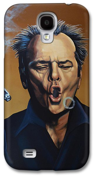 Realistic Art Paintings Galaxy S4 Cases - Jack Nicholson Galaxy S4 Case by Paul  Meijering