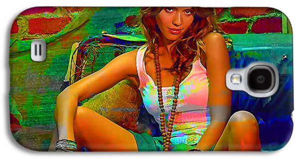 Jessica Alba Galaxy S4 Cases - Jessica Alba Galaxy S4 Case by Marvin Blaine