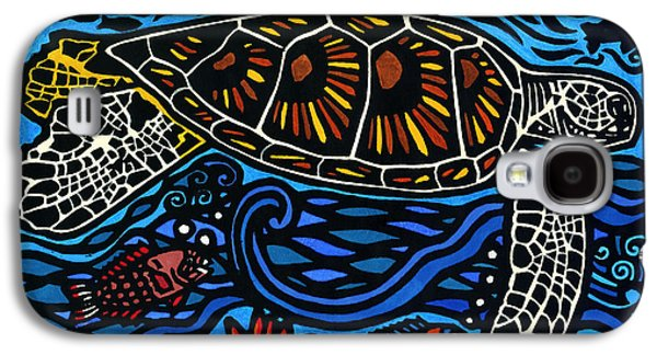 Lino-cut Galaxy S4 Cases - Kahaluu Honu Galaxy S4 Case by Lisa Greig