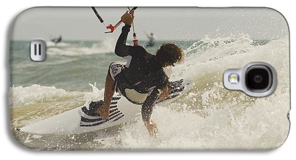 Kiteboarding Galaxy S4 Cases - Kitesurfer Catching A Wave Galaxy S4 Case by Ben Welsh