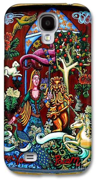 Animals Tapestries - Textiles Galaxy S4 Cases - Lady Lion and Unicorn Galaxy S4 Case by Genevieve Esson