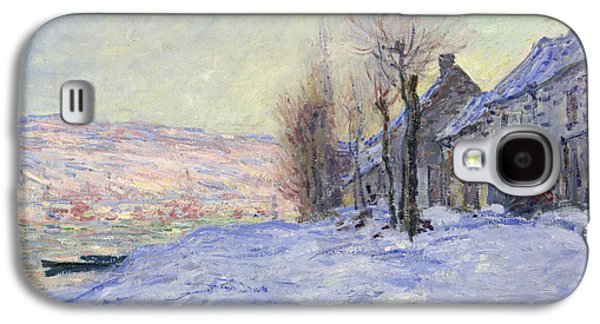 Winter Prints Galaxy S4 Cases - Lavacourt under Snow Galaxy S4 Case by Claude Monet