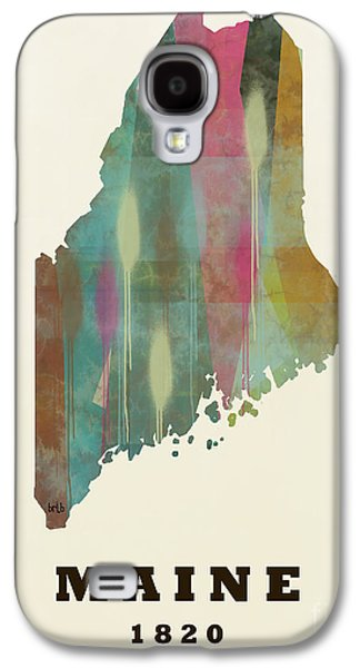 Maine Landscapes Paintings Galaxy S4 Cases - Maine state map modern Galaxy S4 Case by Bri Buckley