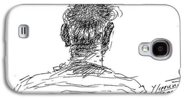 Men Drawings Galaxy S4 Cases - Man Head Galaxy S4 Case by Ylli Haruni
