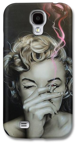 Actors Paintings Galaxy S4 Cases - Marilyns Crimson Haze Galaxy S4 Case by Christian Chapman Art