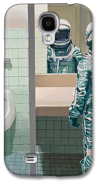 Space Paintings Galaxy S4 Cases - Mens Room Galaxy S4 Case by Scott Listfield