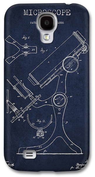 Microscope Galaxy S4 Cases - Microscope Patent Drawing From 1886 - Navy Blue Galaxy S4 Case by Aged Pixel