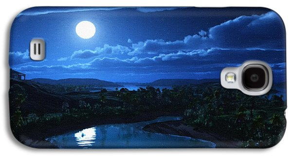 Screen Print Galaxy S4 Cases - Moon Artwork Poster Galaxy S4 Case by Victor Gladkiy