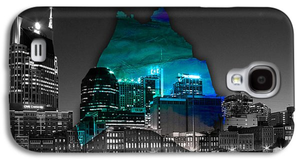 Old Galaxy S4 Cases - Nashville Skyline and Map Watercolor Galaxy S4 Case by Marvin Blaine