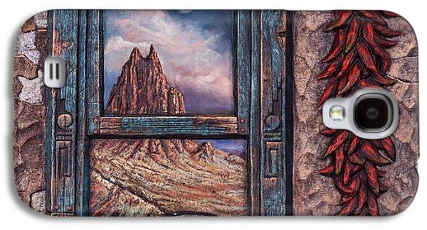 Folk Art Mixed Media Galaxy S4 Cases - New Mexico Window Galaxy S4 Case by Ricardo Chavez-Mendez