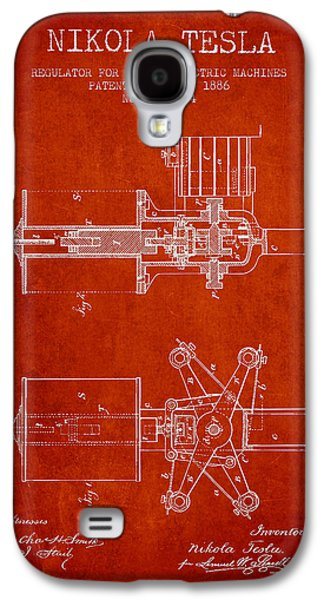Nikola Tesla Patent Drawing From 1886 - Red Galaxy S4 Case by Aged Pixel