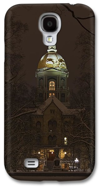 Notre Dame Golden Dome Snow Galaxy S4 Case by John Stephens