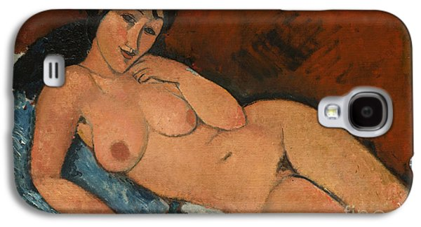 Nudes Paintings Galaxy S4 Cases - Nude on a Blue Cushion Galaxy S4 Case by Amedeo Modigliani