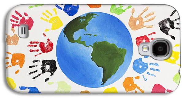 Globe Paintings Galaxy S4 Cases - One World Galaxy S4 Case by Tim Gainey