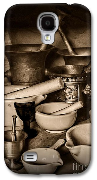 Old Grinders Galaxy S4 Cases - Pharmacy - Mortars and Pestles - black and white Galaxy S4 Case by Paul Ward