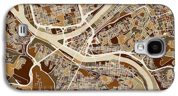 Urban Street Galaxy S4 Cases - Pittsburgh Pennsylvania Street Map Galaxy S4 Case by Michael Tompsett