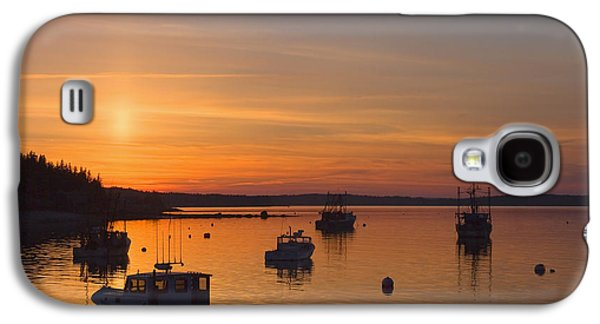 Maine Shore Galaxy S4 Cases - Port Clyde Maine Fishing Boats At Sunset Galaxy S4 Case by Keith Webber Jr