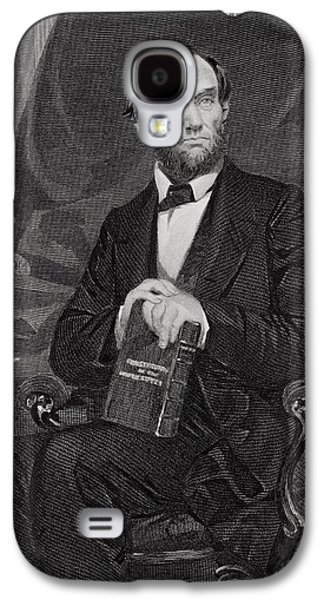 Male Drawings Galaxy S4 Cases - Portrait of Abraham Lincoln Galaxy S4 Case by Alonzo Chappel