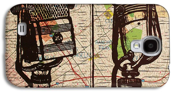 Linocut Drawings Galaxy S4 Cases - 2 RCA Microphones Galaxy S4 Case by William Cauthern