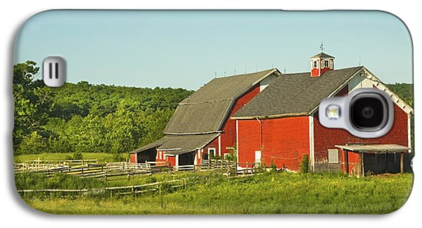 Maine Farms Galaxy S4 Cases - Red Barn And Fence On Farm In Maine Galaxy S4 Case by Keith Webber Jr