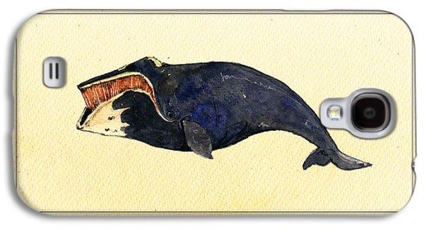 Whale Digital Art Galaxy S4 Cases - Right whale Galaxy S4 Case by Juan  Bosco