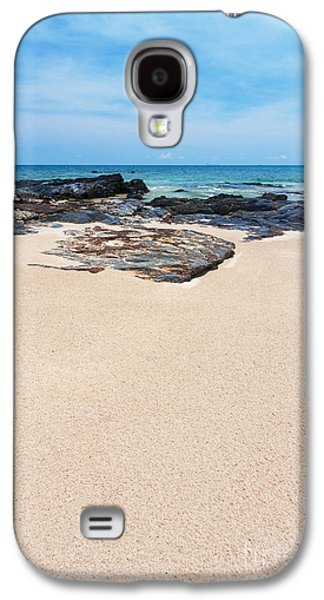 Beach Landscape Pastels Galaxy S4 Cases - Rock Sand Sea And Sky Galaxy S4 Case by Atiketta Sangasaeng