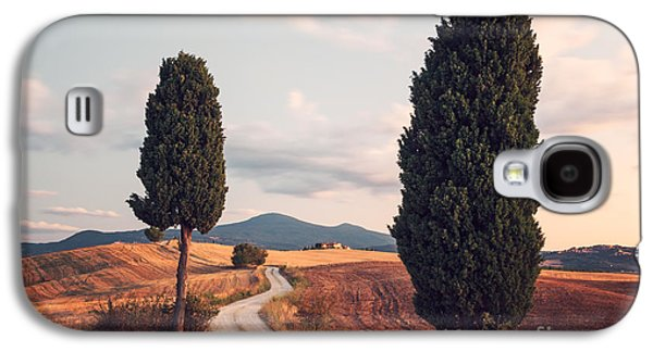 Tuscan Sunset Galaxy S4 Cases - Rural road with cypress tree in Tuscany Italy Galaxy S4 Case by Matteo Colombo