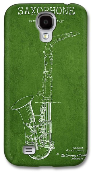 Saxophone Patent Drawing From 1937 - Green Galaxy S4 Case by Aged Pixel