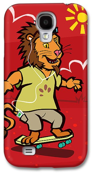 Listening Digital Galaxy S4 Cases - skateboarding Lion  Galaxy S4 Case by Martin Davey