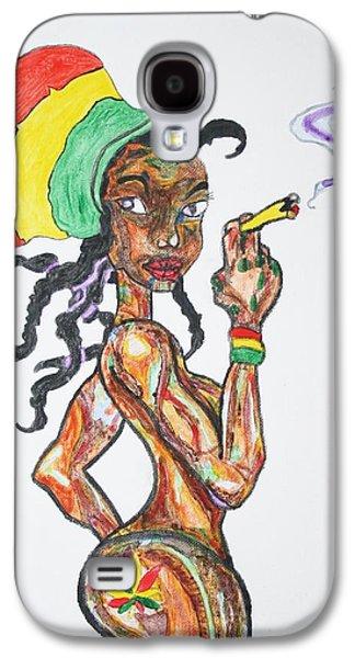 African-american Galaxy S4 Cases - Smoking Rasta Girl Galaxy S4 Case by Stormm Bradshaw