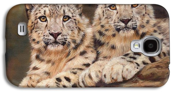Snow Paintings Galaxy S4 Cases - Snow Leopards Galaxy S4 Case by David Stribbling