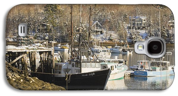 Maine Winter Galaxy S4 Cases - South Bristol and Fishing Boats on the Coast of Maine Galaxy S4 Case by Keith Webber Jr
