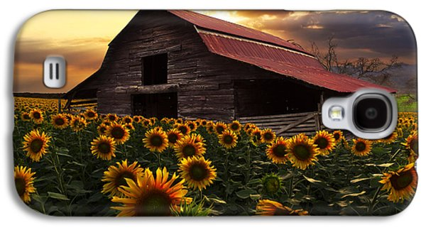 Red Roofed Barn Galaxy S4 Cases - Sunflower Farm Galaxy S4 Case by Debra and Dave Vanderlaan