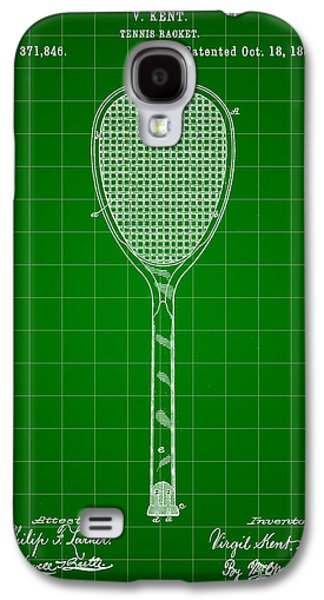 Atp Galaxy S4 Cases - Tennis Racket Patent 1887 - Green Galaxy S4 Case by Stephen Younts