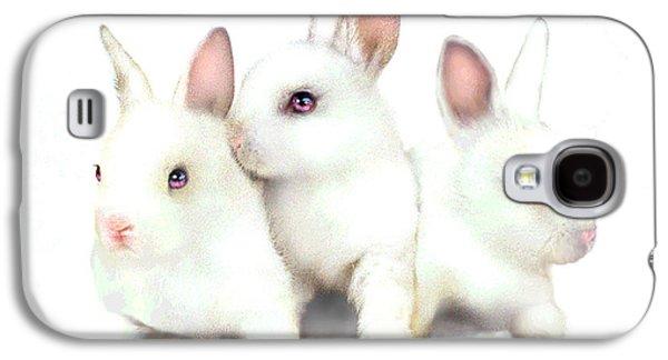 Fuzzy Digital Art Galaxy S4 Cases - Three Bunnies Galaxy S4 Case by Robert Foster