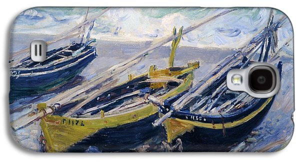 Claude Paintings Galaxy S4 Cases - Three Fishing Boats Galaxy S4 Case by Claude Monet