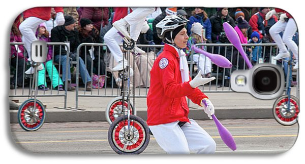 Unicyclists At A Parade Galaxy S4 Case by Jim West