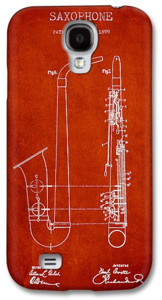 Saxophone Patent Drawing From 1899 - Red Galaxy S4 Case by Aged Pixel