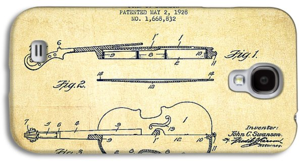 Violin Patent Drawing From 1928 Galaxy S4 Case by Aged Pixel