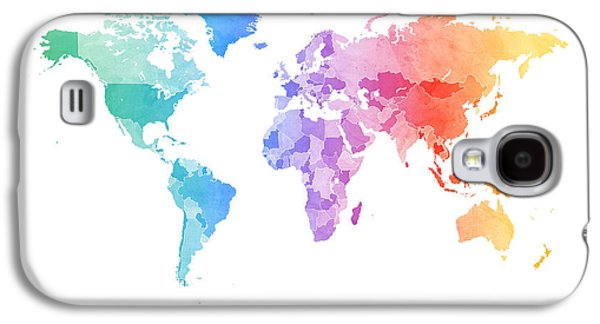 Atlas Galaxy S4 Cases - Watercolor Map of the World Map Galaxy S4 Case by Michael Tompsett