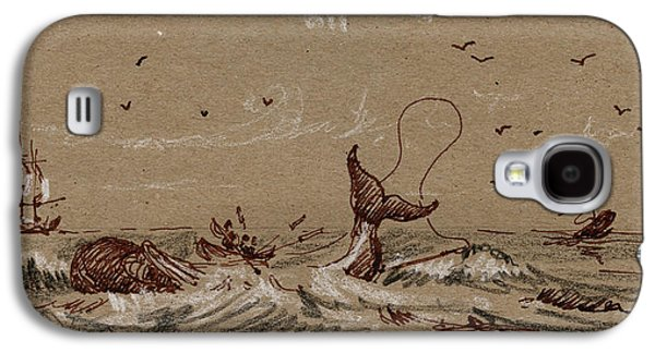 Frigates Paintings Galaxy S4 Cases - Whaler ship Galaxy S4 Case by Juan  Bosco