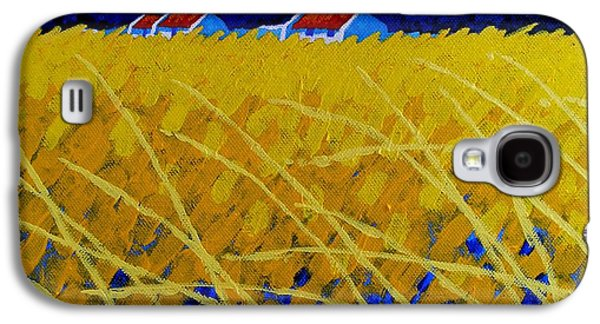 Landscape Acrylic Prints Paintings Galaxy S4 Cases - Yellow Meadow Galaxy S4 Case by John  Nolan